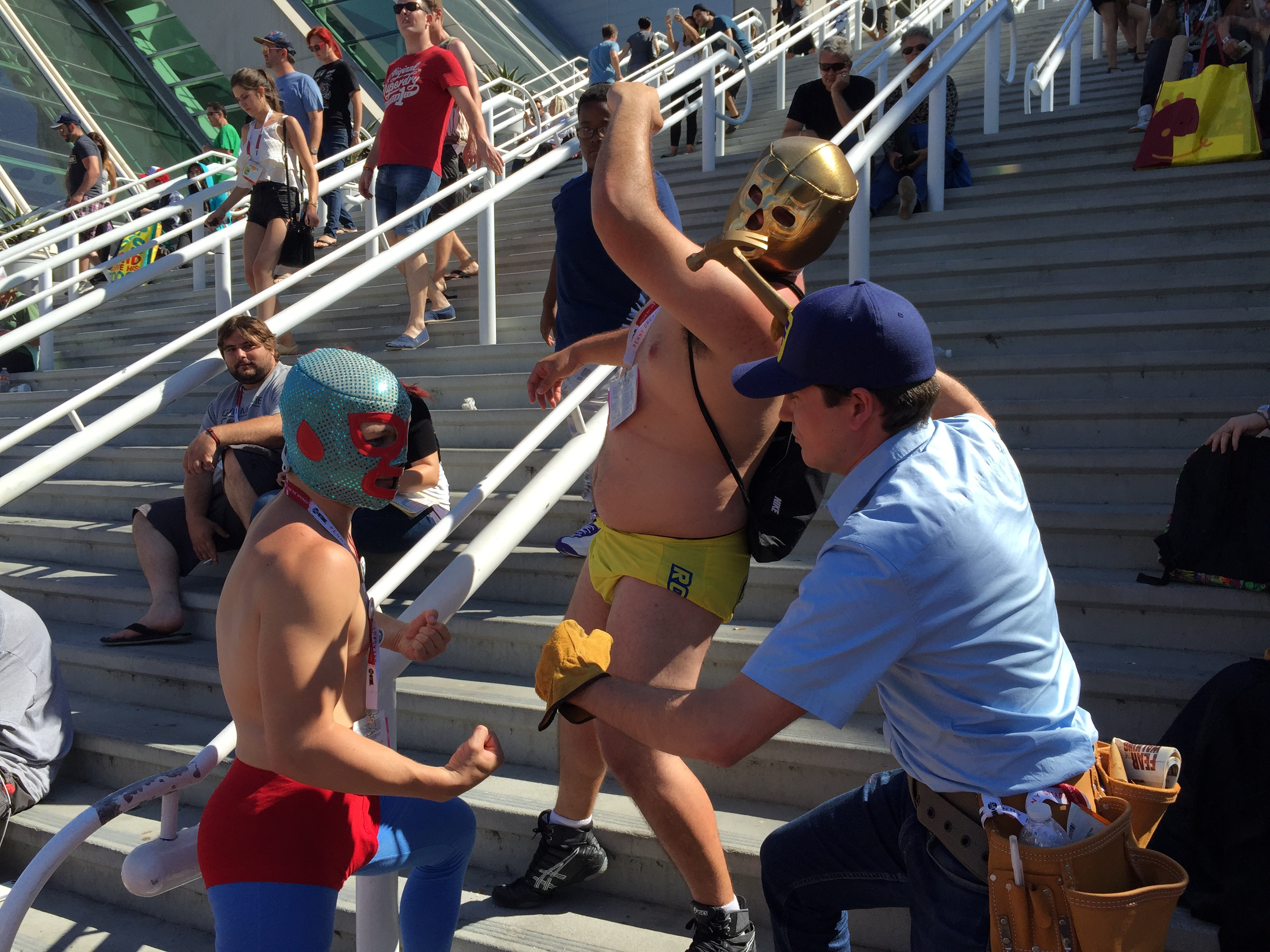 Fix-It Felix, Jr. at SDCC 2015 with luchadores